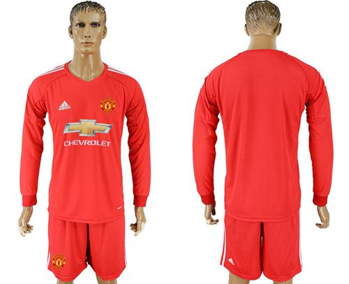 Manchester United Blank Red Goalkeeper Long Sleeves Soccer Club Jersey